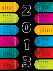 2013 calendar on dark background