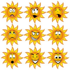 Sonne mit lustigen Gesichtern