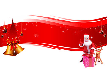 santa and reindeer with red background