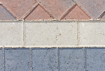 Block pavior driveway showing different patterns