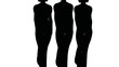 Silhouettes of three women-models of black colors go