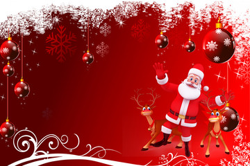 santa with reindeer on red background