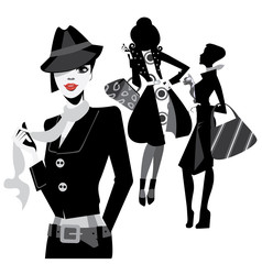black and white portrait fashion women
