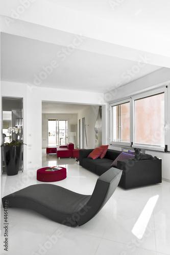 moderna chaise longue e divano nero per il soggiorno moderno