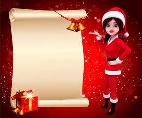santa girl with sign on red background