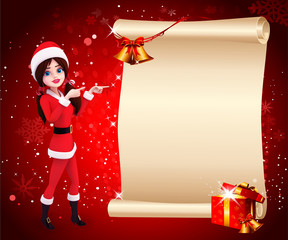 santa girl in red background with big sign