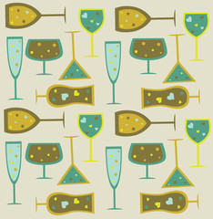Background from seamless wine, cocktail  and martini glasses.