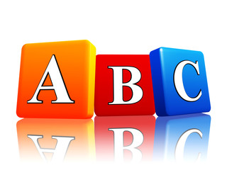 abc letters in color cubes