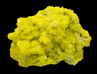 Sulphur crystals isolated on black. Large museum piece.