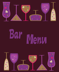 Seamless wine, cocktail  and martini glasses