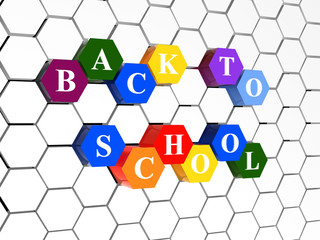 back to school on color hexagons