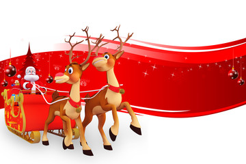 santa sleigh with lots of gifts
