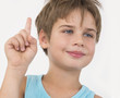 boy with rised finger, new idea