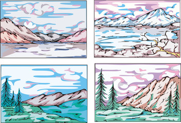 Sketches of mountain landscapes