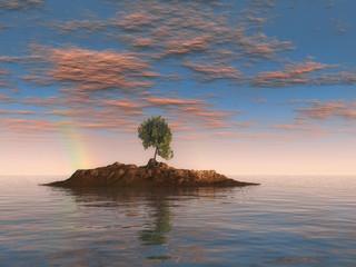 Isla con un árbol