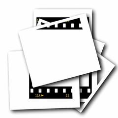 Set  blank photo film strip isolated on white background