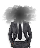 Businessman - head in the black clouds