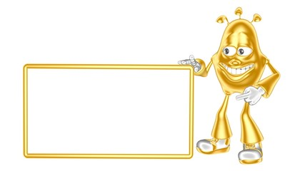 Funny golden 3d mr. Multic shows a bulletin board with your logo