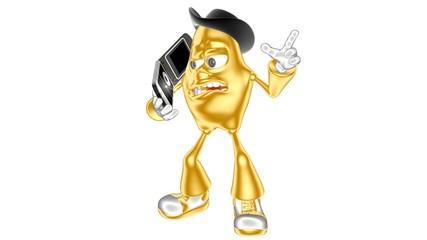 Funny golden 3d boss mr. Multic loud talking on cell phones