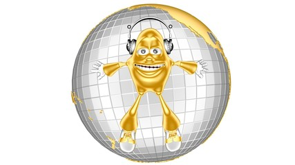 funny golden 3d character mr. Multic enjoys music in the world