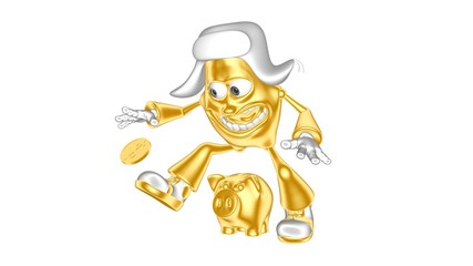Funny golden 3D character mr. Multic catches coin