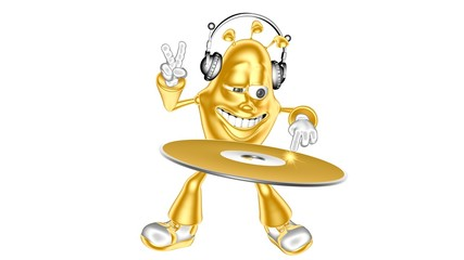 Golden DJ character mr. Multic plays a musical CD-ROM
