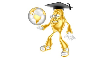 Golden 3D character mr. Multic holding a globe