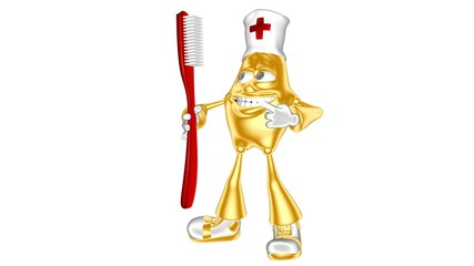 Golden 3D character mr. Multic with toothbrush