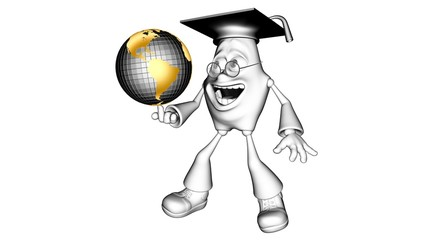 White 3D character mr. Multic holding a globe