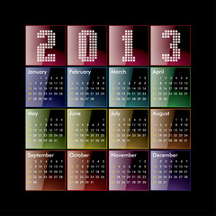 Colored glossy 2013 calendar