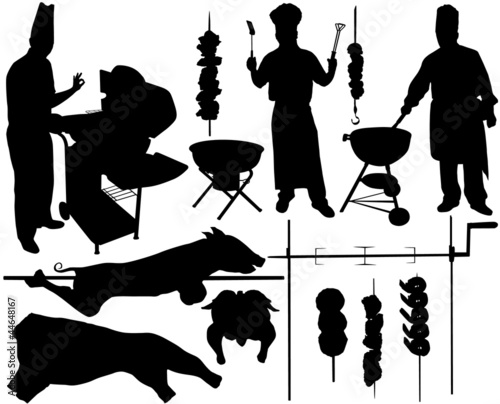 BBQ (barbecue) chef, pork, beef, spit, skewer silhouettes
