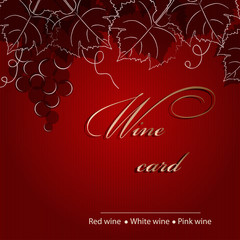 Template of alcohol card with grapes