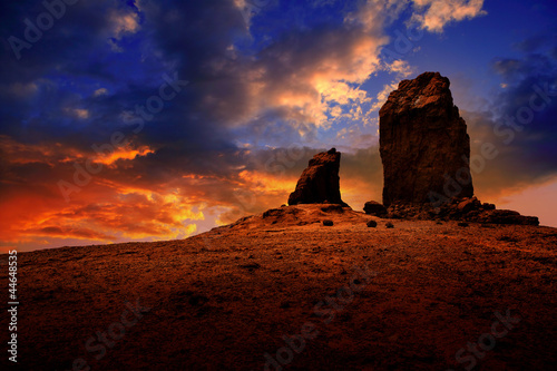 Gran canaria roque nublo dramatic sunset sky