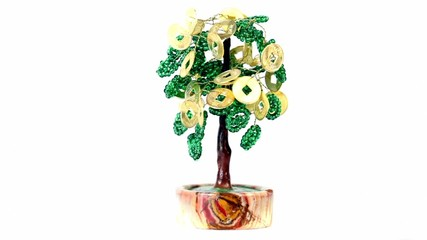 Artificial money tree rotates isolated