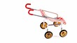 Toy perambulator with red stripes circling isolated