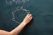 Chemical formulas on the blackboard