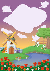 Garden with beautiful spring flowers, lake and windmill