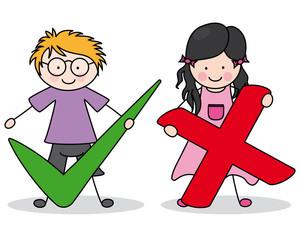 Niños con signo de aceptar y rechazar