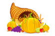 vector illustration of Thanksgiving cornucopia with vegetable