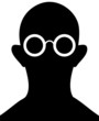 Silhouette of person with eyeglasses - vector