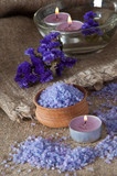Spa concept. Lavender salt and purple flowers