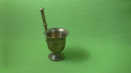 Copper Antiques mortar with green background