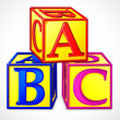 vector illustration of colorful abc block against white