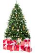 weihnachtsbaum mit roten geschenkpaketen
