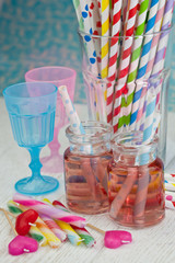 Colorful lemonade and party straws