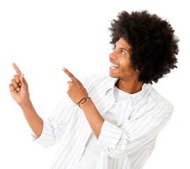 Happy man pointing
