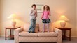 kids jump on sofa and then run away from room