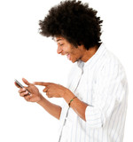Man reading a funny text message