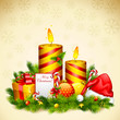 vector illustration of candle and gift box for Christmas