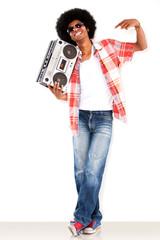 Black man with a radio
